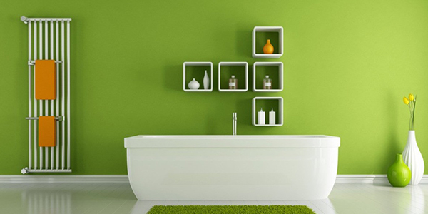 Interior Painting image of a bathroom with green walls